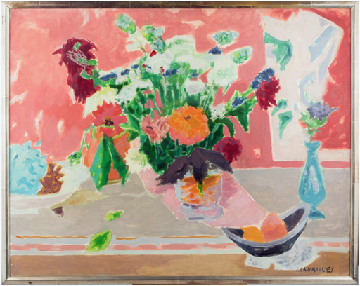 Jules CAVAILLES - Painting - Les Zinnias