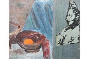 Pierre BURAGLIO - Peinture - Nature morte avec allégorie