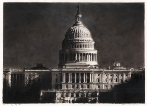 Robert LONGO - Disegno Acquarello - Study of the Capitol