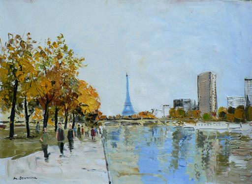 Michel JOUENNE - Peinture - PROMENADE AU BORD DE LA SEINE