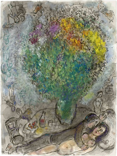 Marc CHAGALL - Dibujo Acuarela - Couple Allongé au Grand Bouquet