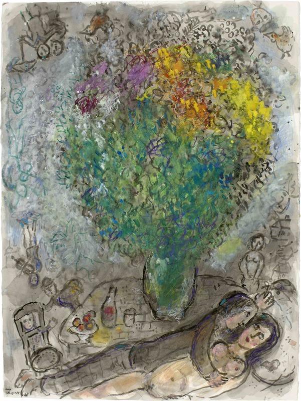Marc CHAGALL - Dibujo Acuarela - Couple Allongé au Grand Bouquet