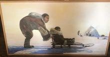 Andrey YAKOVLEV - Painting - Le lapon et son enfant devant la yourde