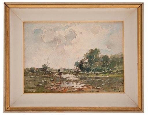 Carlo FOLLINI - Drawing-Watercolor - Lungo il fiume