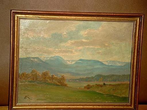 Max HEILMANN - Pintura - Landschaft mit Berggipfeln - wohl Riesengebirge.