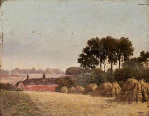 José WEISS - Painting - paysage aux meules de foin