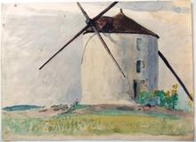 Edgard MAXENCE - Dibujo Acuarela - moulin aux tournesols