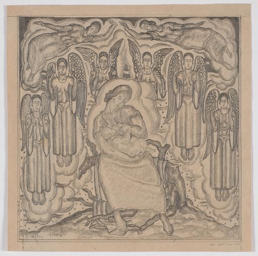 "Josef LACINA - Dibujo Acuarela - ""Maternity"" 1922, drawing"