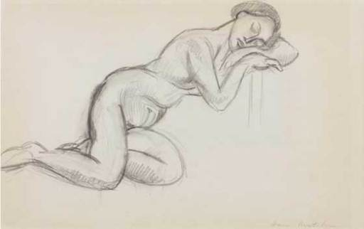 Henri MATISSE - Drawing-Watercolor - Nu assoupi