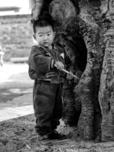 Dominique POILPRE - Photography - Enfant et le tronc