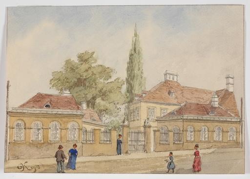 "Gustav VON KOROMPAY - Dibujo Acuarela - ""Hohlweggasse in the 3rd district in Vienna"" 1903, watercolo"