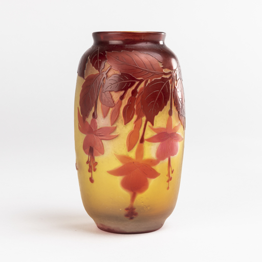 艾米里·加利 - Emile Gallé (1846-1904), vase aux fuchsias, XIXe