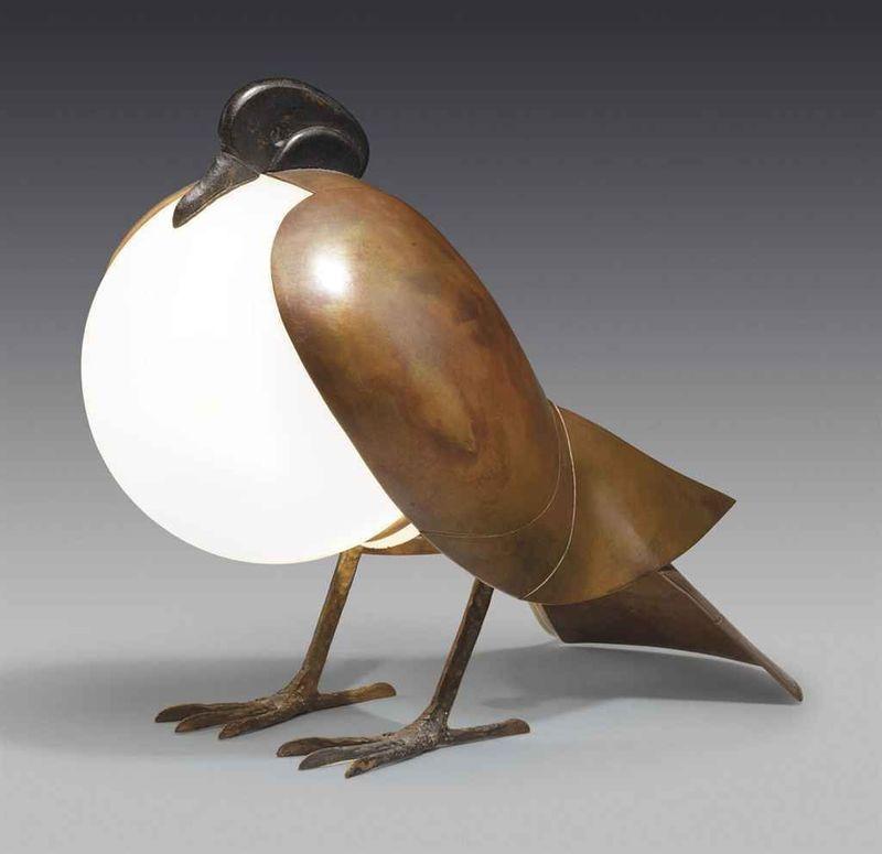 François-Xavier LALANNE - Sculpture-Volume - Lampe pigeon