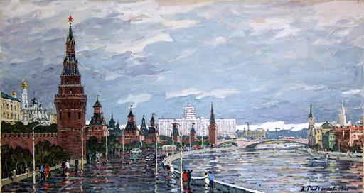 Boris Fedorovich RYBCHENKOV - Dibujo Acuarela - The riverfront near the Kremlin