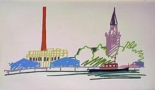 汤姆•韦瑟尔曼 - 版画 - Thames Scene with Power Station