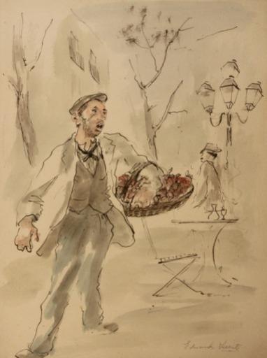 Eduardo VICENTE - Disegno Acquarello - Vendedor de frutas
