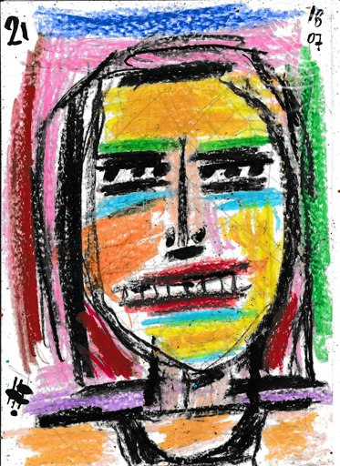 Harry BARTLETT FENNEY - Drawing-Watercolor - blonde hair black vest #3 (18 07 21)