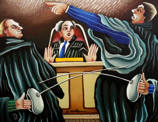 Yuval MAHLER - Painting - The lawyers battle