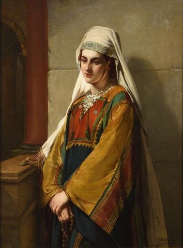 Jean François PORTAELS - Peinture - Une femme syrienne à l'église à Bethlé