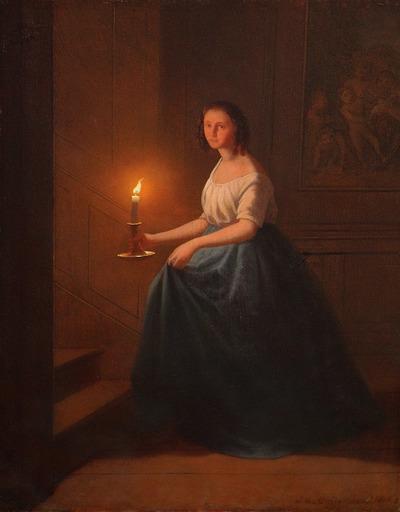 Johann Mongels CULVERHOUSE - Peinture - le coucher