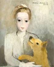 Marie LAURENCIN - Painting - Portrait de Jeune fille au chien