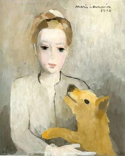Marie LAURENCIN - Gemälde - Portrait de Jeune fille au chien