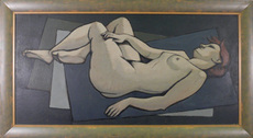 Hubertus Johannes MENGELS - Peinture - Reclining Female Nude