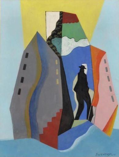 Léopold SURVAGE - Gemälde - L'homme et la ville