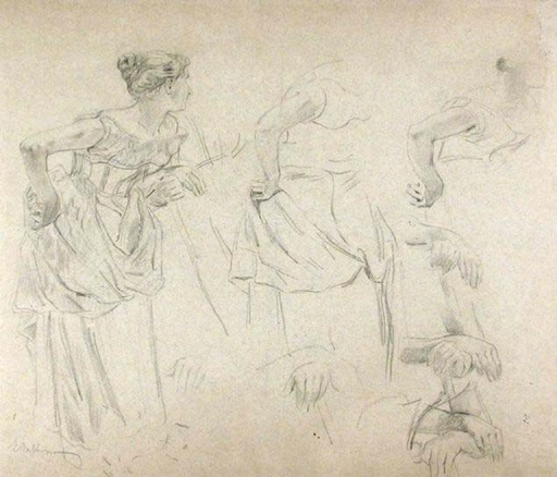 Edoardo DALBONO - Dessin-Aquarelle - STUDIES OF A STANDING WOMAN