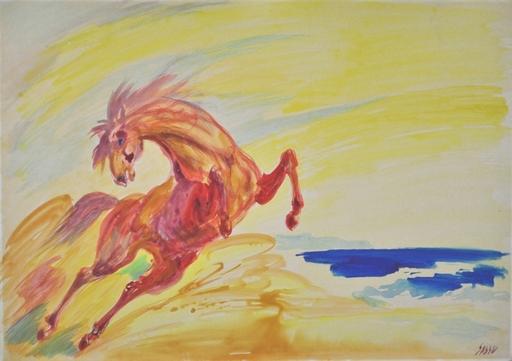 Aligi SASSU - Dibujo Acuarela - Cavallo