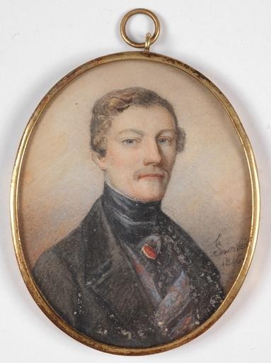 "Jean François Gérard FONTALLARD - Miniatur - ""Portrait of a Gent"", 1846, Miniature"