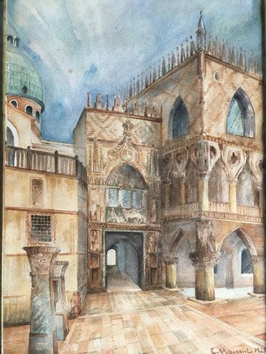 Egisto MASSONI - Drawing-Watercolor - Puerta del Palacio del Dogo Venecia