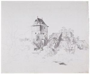 Wilhelm VON KOBELL - Disegno Acquarello - Torturm und Stadthäuser hinter Buschwerk und Bäumen.