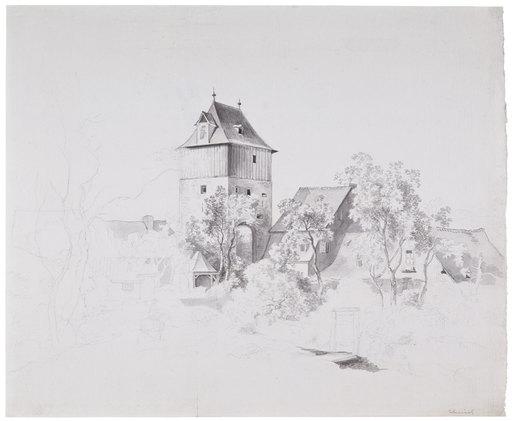 Wilhelm VON KOBELL - Dibujo Acuarela - Torturm und Stadthäuser hinter Buschwerk und Bäumen.