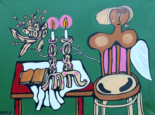 Naftali BEZEM - Painting - Table, woman and candlesticks
