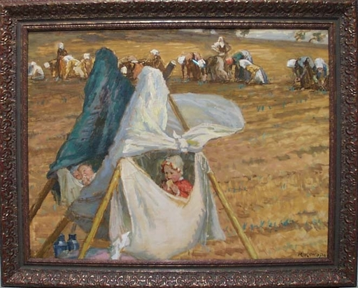 "Rudolf KONOPA - Painting - ""Working Mother"" by Rudolf Konopa, 19th Century"