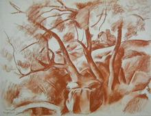 Charles KVAPIL - Drawing-Watercolor - Landscape in Corsica