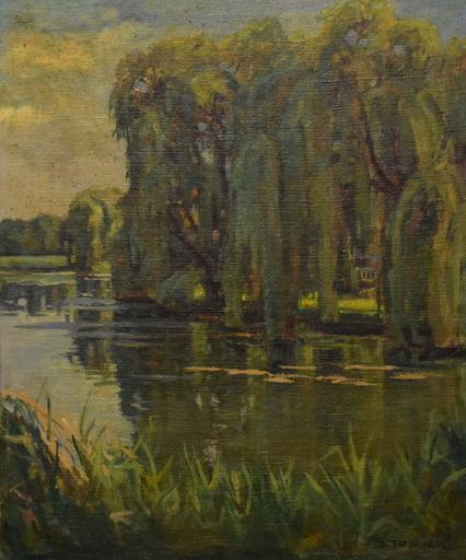 Josef TOBNER - Painting - Teichlandschaft mit Trauerweiden