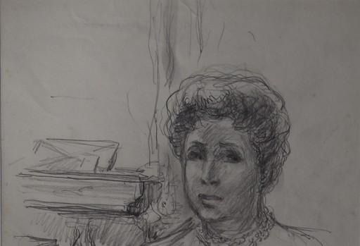 Claude RÉMUSAT - Drawing-Watercolor - Magda TAGLIAFERRO portrait au fusain