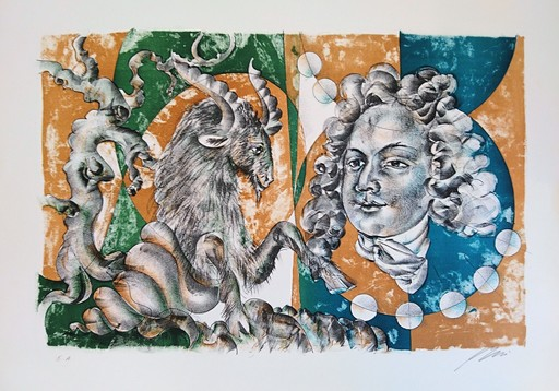 Hans ERNI - Stampa-Multiplo - Dames des décans - Capricorne et portrait de Bach
