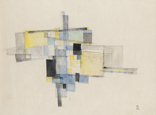 Kurt LEWY - Drawing-Watercolor - Abstract composition