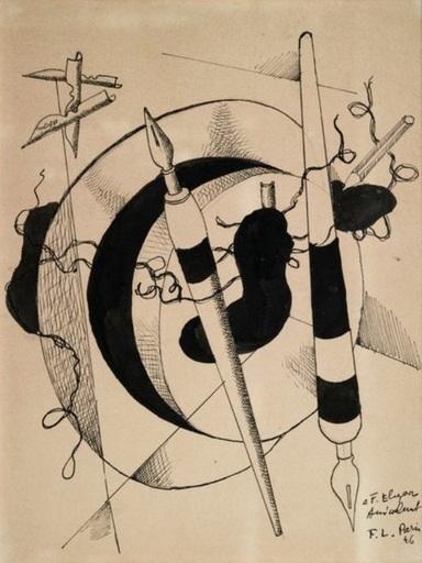 Fernand LÉGER - Dessin-Aquarelle - omposition au porte plumes et crayon