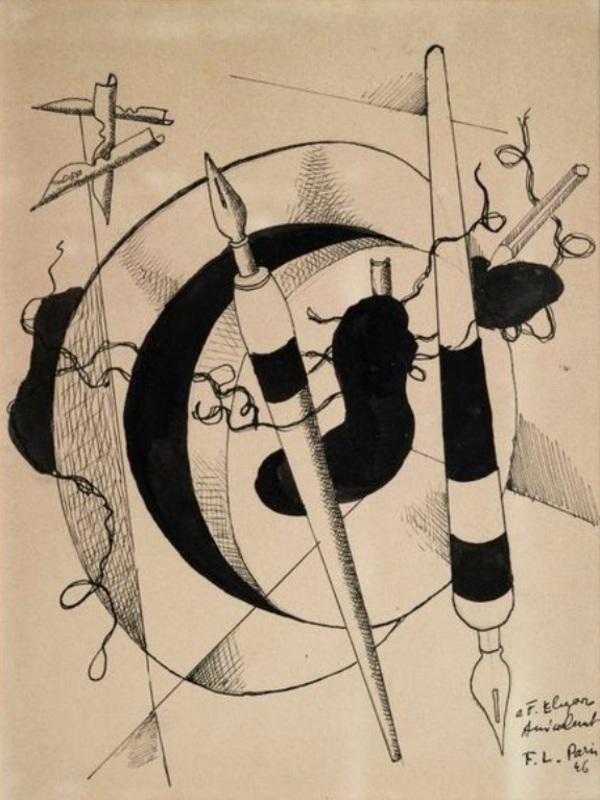 Fernand LÉGER - Zeichnung Aquarell - omposition au porte plumes et crayon