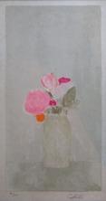 Bernard CATHELIN - Grabado - Bouquet de roses sur fond gris