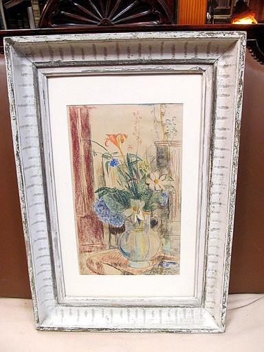 Friedrich AHLERS-HESTERMANN - Drawing-Watercolor - Blumen-Stilleben in Glasvase auf Tisch