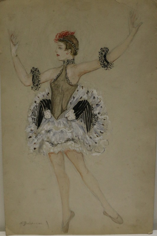 Nathalie GONTCHAROVA - Drawing-Watercolor - Etude de costume de scène