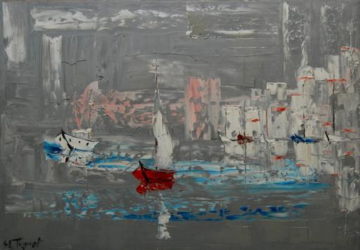 Serge Louis TUQUET - Painting - Cité marine à la barque bleu