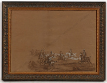 "Carle VERNET - Drawing-Watercolor - ""Chasses du Duc de Berry á Verrieres, 29th of April 1819"""