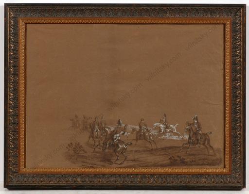 """Carle VERNET - Dessin-Aquarelle - """"Chasses du Duc de Berry á Verrieres, 29th of April 1819"""""""