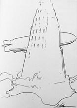 "François SCHUITEN - Drawing-Watercolor - ""Brüssel"""